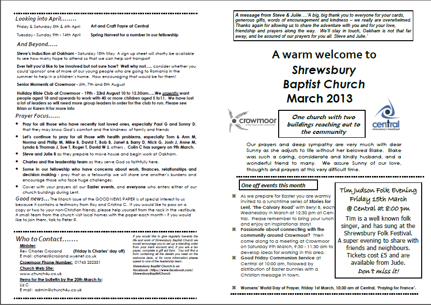 Churh March Bulletin