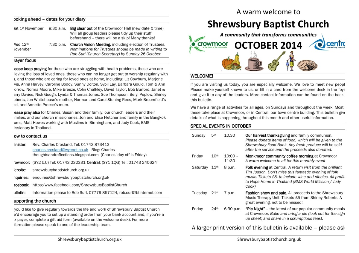 Shrewsbury Baptist Church October Bulletin